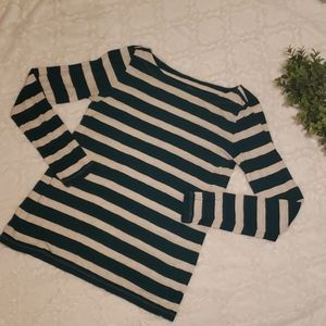 Loft Green and Beige stripped soft long sleeve tee
